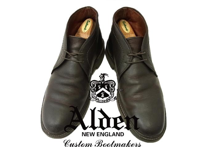 【中古】良品◇高級 本革◇オールデンAlden◇レザーチャッカブーツ 革靴 ダークブラウン ENGLAND(Size:7 1/2