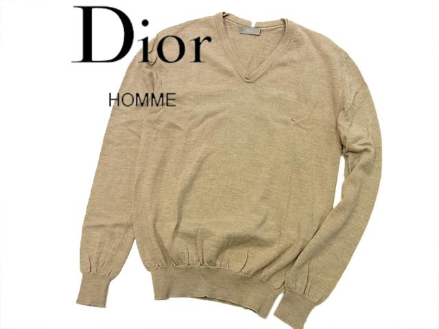 【中古】◇正規品◇ディオールオム Dior HOMME◇Vネック ウールセーター ブラウンベージュ イタリア製(size:M