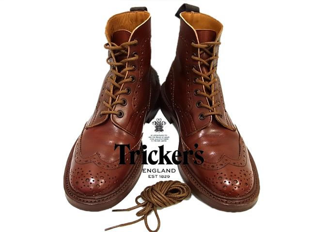 【中古】◇美品◇トリッカーズ◇ウイングチップ レザーカントリーブーツ Tricker's 英国製 スペア紐付(Size:7-5