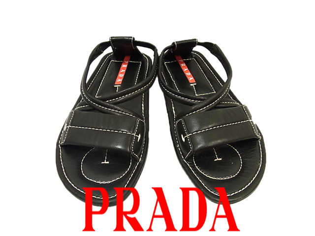 【中古】◇プラダ PRADA◇レザーサンダル クロス サマーサンダル ブラック イタリア製 レディース (Size:34 1/2 22.5cm