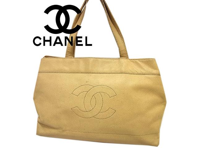 【中古】◇シャネル CHANEL◇キャビアスキントートバッグ ショルダーバッグ ベージュ シール有 イタリア製