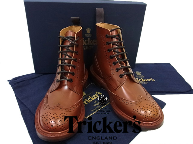 7bf5ffc6cdbfd トリッカーズ Tricker's ◇ leather country boots wing tip light brown (Size: 8 ...