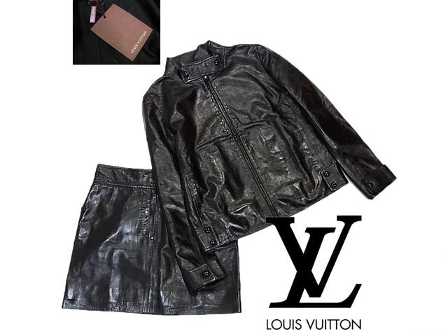 【未使用】◇タグ付 未着用◇ルイヴィトン◇ラムレザージャケット スカートスーツ セットアップ ブラック  美ライン LOUIS VUITTON フランス製