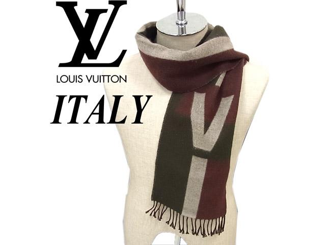 【中古】高級▼ルイヴィトンLOUIS VUITTON イタリア製 カシミヤ混マフラー