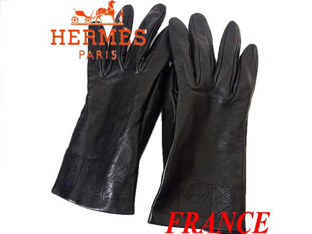 【中古】▼エルメスHERMES フランス製 ラムレザーシルク 手袋グローブ