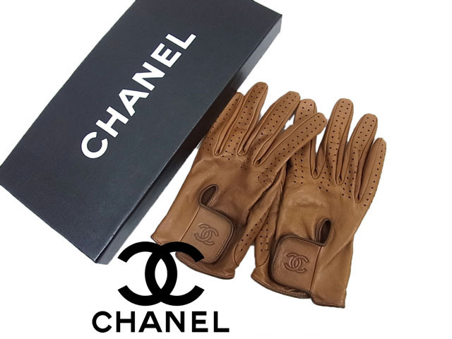 【中古】◇高級 本革◇シャネル CHANEL◇レザーグロープ 手袋 ココマーク フランス製 レディース ギフトボックス付き