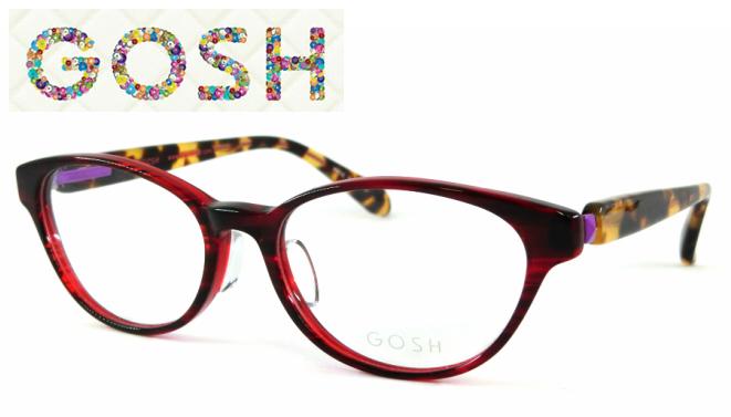 GOSH(ゴッシュ) GO-866 C-3 セルフレーム フルリムワインレッド ブラウンデミテンプル パープルバネ 掛けやすい ウェリントン