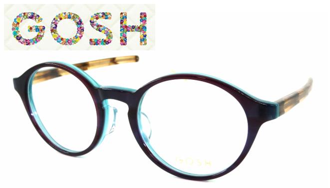 GOSH(ゴッシュ) GO-912 C-1 セルフレーム パープル ブルー ブラウン ホワイト 丸メガネ ラウンド
