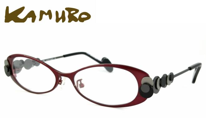 kamuro (カムロ) circulo C-14025B フルリム メタルフレーム テンプル特徴あり 輪 レッド 赤 黒 グレー チタン素材 バネ性 掛けやすい 日本製 メガネフレーム