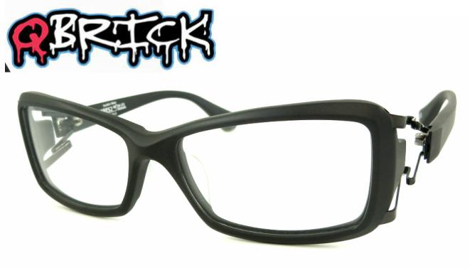 Qbrick キューブリック BTY48ES2 セルフレーム フルリム S型弾力性バネ マットブラック 眼鏡 メガネ めがね 掛けやすい