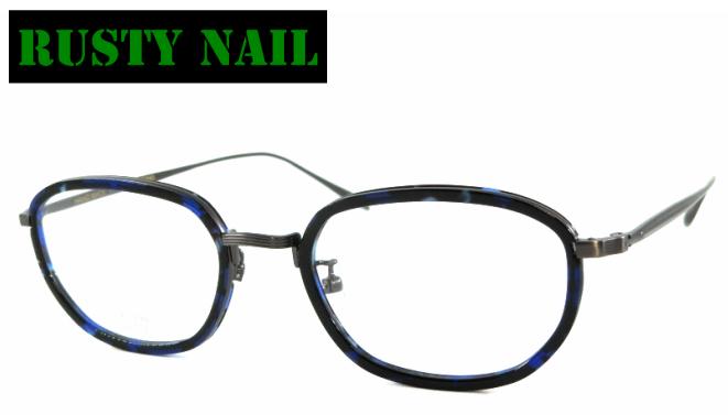 RUSTY NAIL(ラスティネイル) K-10026 カラー03 メタル&セルフレーム フルリム クラシックメガネ メタルブリッジ メタルアーム アンティーク ブルーまだら ブルーデミ めがね メガネ 眼鏡 金属鼻パット