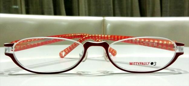 WITTYPAULY03(ウィッティポーリー03) 03-217 C-3 アンダーリム メタルフレーム+セルフレーム チタン素材 レッド+ホワイト 細め