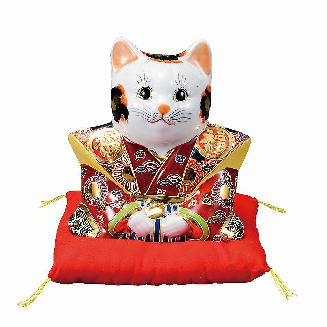 九谷焼 6号福助猫・盛(布団付)