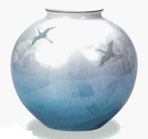 【九谷焼】 10号花瓶・銀彩双鶴 (木箱付)