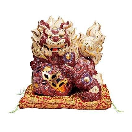 【九谷焼】 8号立獅子 盛 布団付