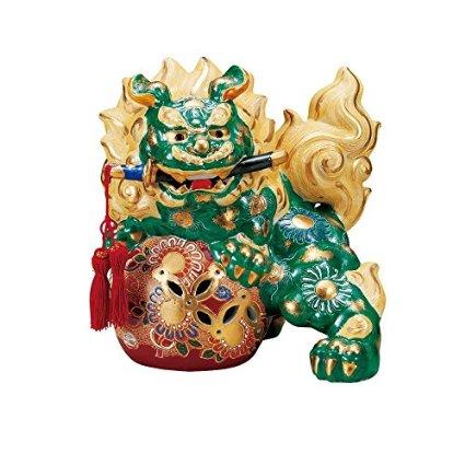 【九谷焼】8号剣獅子 緑彩 房付