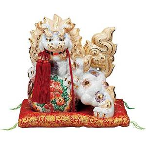 【九谷焼】 13号牡丹獅子 白盛 房・布団付