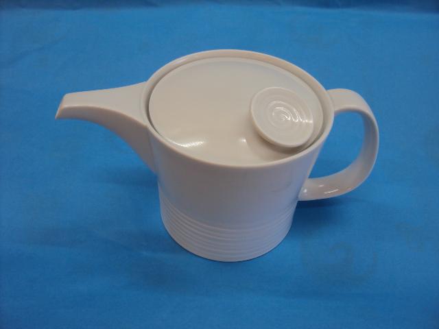 【白山陶器】ミストホワイトポット(大)茶こし付ステン 700ml