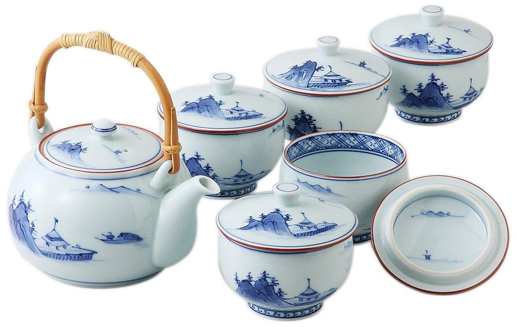 洸琳山水 蓋付茶器揃  西海陶器