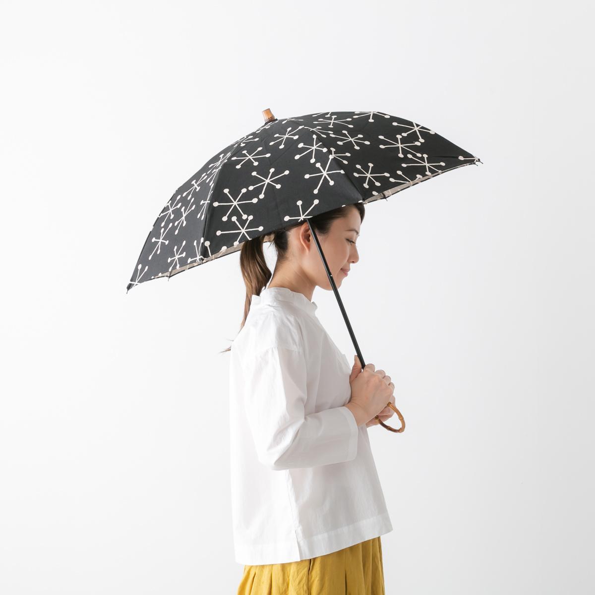 sur mer シュルメール コットンリネン 結晶柄 晴雨兼用 折り畳み傘 SO-010-BK