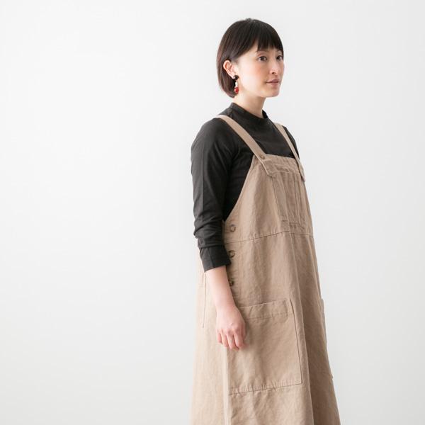 SARAHWEAR サラウェア コットン リネン ツイル サロペット スカート 2色 C4188