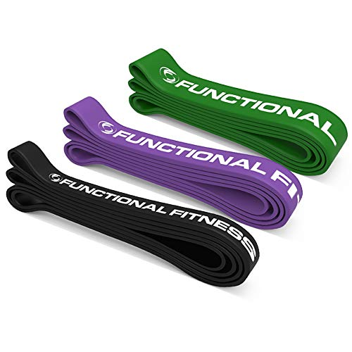 Set of 3 Functional Fitness Pull Up Bands - #3 #4 #5 - 30-250 lbs (14-113 kg)