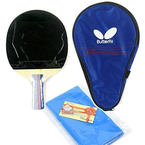 [Butterfly]バタフライシェークハンドラケット両面 中国 Short Handle ハンドル TBC-401+ラケットケース+スポーツタオルセットの構成/卓球パドルラケットグリップピンポン Table Tennis Paddles Racket Bat shake racket Grip Ping Pong