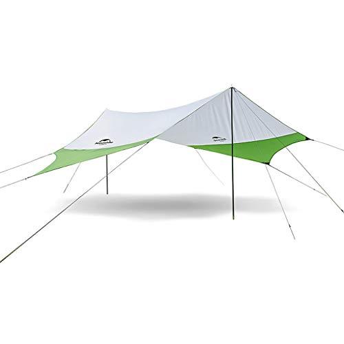 Naturehike ヘキサゴン防水性の日除け屋外サンシェードキャンプサンシェルター大スペースUPF40 +防水天井キャノピー (緑と灰色 M)