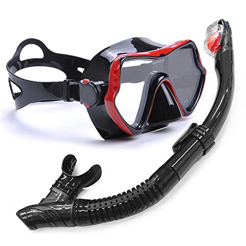 YFX Create シュノーケル マスク シュノーケリング セット 呼吸用パイプ 潜水メガネ セット 強化ガラス 曇り止め 耐衝撃 耐圧力 飛散防止 男女兼用 (赤 ー 黒)