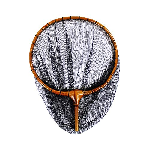 18籐巻き加工 木製ヘラ玉網 尺3ミリ目 80サイズ (30050)  黒