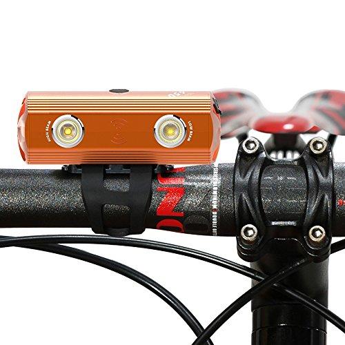 VOLOスーパーブライトアルミ自転車ライト650ルーメンバイクヘッドライト、3つの照明モードバイクフロントライト (橙)