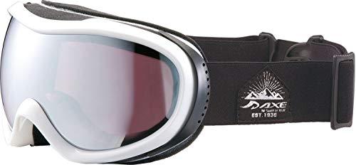 AXE(アックス) スキー 男女兼用 ゴーグル 偏光レンズ・ヘルメット対応・メガネ対応・ダブルレンズ・ノーズフィット・UVプロテクション パールホワイト OMW780
