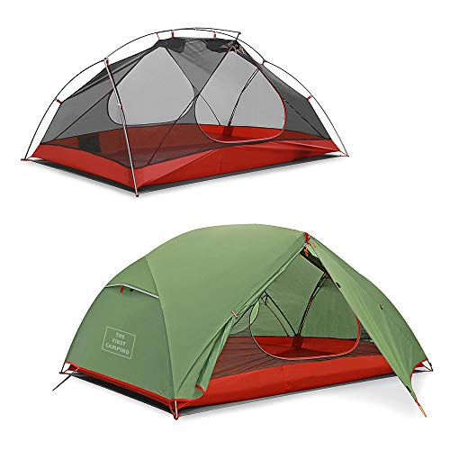 STAR HOME アウトドアテント二重層キャンプ超軽量テント 4シーズン防風防水テントPU5000プロフェッショナルテントキャンピング 2人用(ローズレッド)