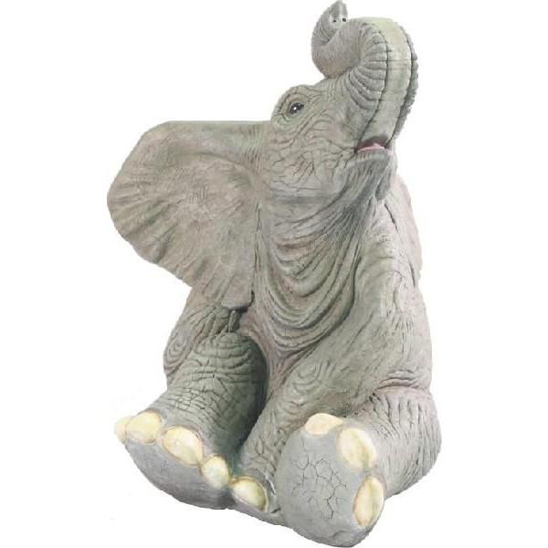 代引不可- アニマルビッグフィギュアシリーズ 鼻から水がでます【小象のたわむれ】(等身大フィギュア) 実物大 原寸大 ゾウ エレファント elphant送料別途見積