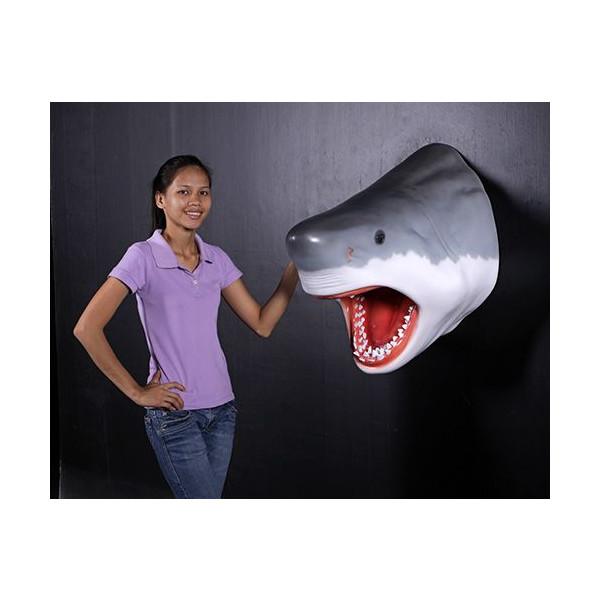 代引不可-グレート・ホワイトシャークヘッド・ビッグフィギュア(壁掛けタイプ) shark figure(壁掛けタイプ)店舗/店頭/看板/オブジェ/ディスプレイ/シンボル/置物/アート送料別途見積