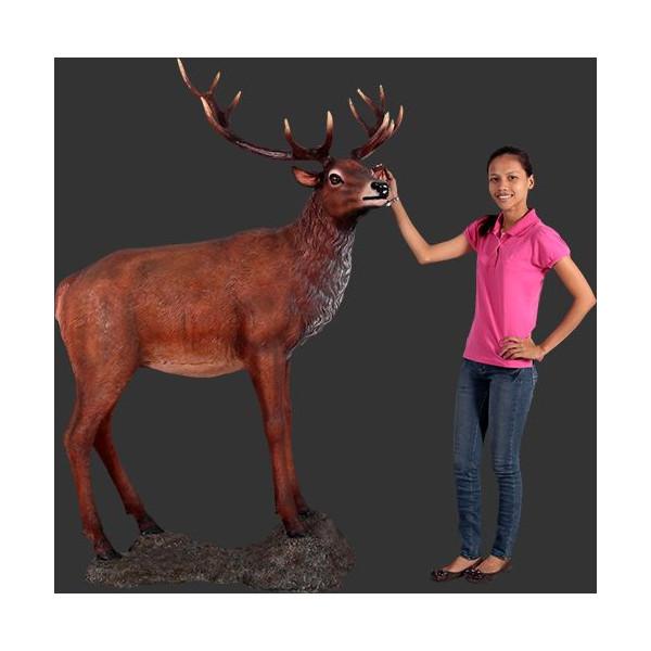 代引不可-【岩に立つ レッド ディアー 鹿 】deer シカ しか 等身大フィギュア 看板 オブジェ アート サイン 動物 アニマル ビッグ フィギュア シリーズ送料別途見積