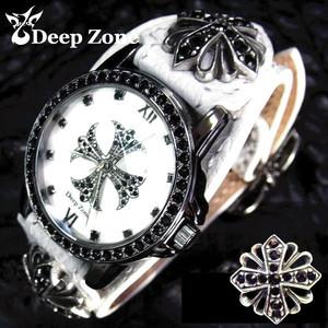 ディープゾーン メンズ 腕時計 ホワイトレザー クロス コンチョ [AL-009]計 腕時計 男 腕時計 国産 コンチョ 革 シルバー925 シルバーアクセサリー &送料無料 保証& プレゼント 彼氏 [ Deep Zone ]