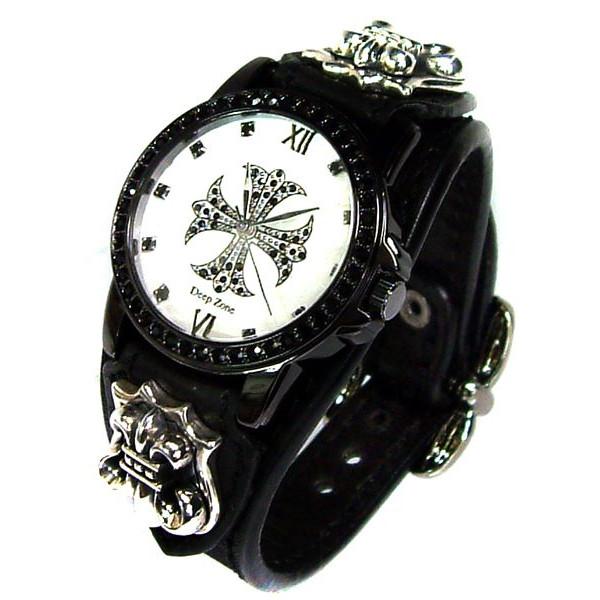 [Deep Zone] ディープゾーン 黒 腕時計 メンズアクセサリー 腕時計 シルバー コンチョ ブレス ウォッチ[LWG-035] 男 革 シルバー デイープ  悪羅悪羅 お兄系 オラオラ系 送料無料 保証& プレゼント 彼氏