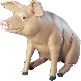 代引不可-アニマルビッグフィギュアシリーズ【ゆかいな豚(ブタ)-w 】(等身大フィギュア)送料別途見積