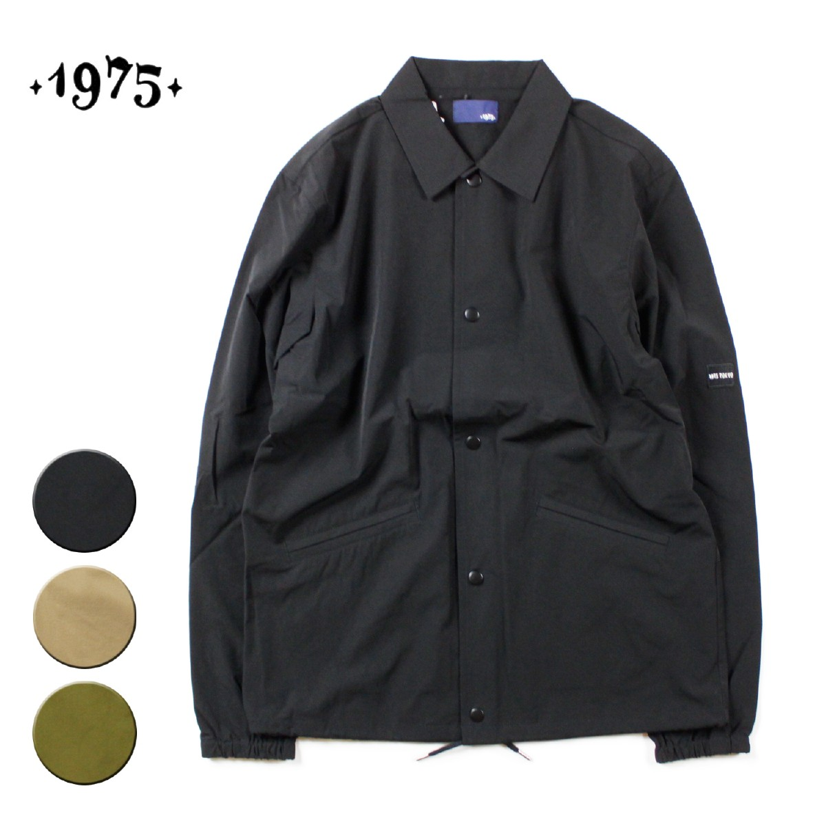 【セール】【30%OFF】1975 TOKYO STRECH COACH JACKET メンズ ブラック/ベージュ/カーキ M-XL【コート アウター ナイロンジャケット 黒 オリーブ サーフ ブランド】