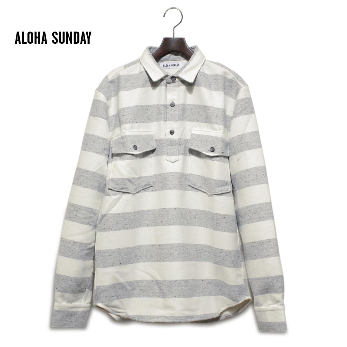 ALOHA SUNDAY アロハサンデー FASI ボーダーシャツ メンズ グレーXナチュラル S-XL