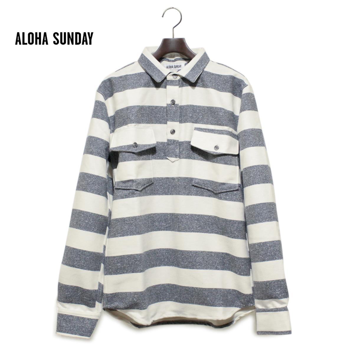 ALOHA SUNDAY アロハサンデー FASI ボーダーシャツ メンズ ネイビーXナチュラル S-XL