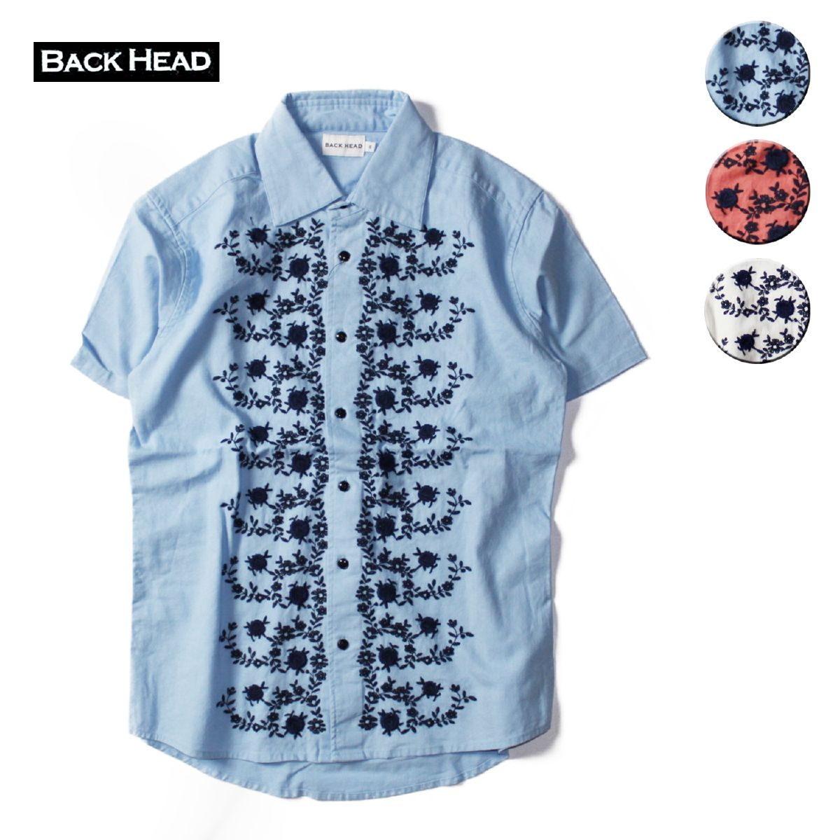 BACKHEAD シャツ 半袖シャツ カジュアルシャツ 半袖 リネン 刺繍 ブランド サーフ アメカジ 青 バックヘッド S-L 白 ホワイト 秀逸 メンズ サーモンピンク 刺繍シャツ ブルー BACK お気に入り HEAD