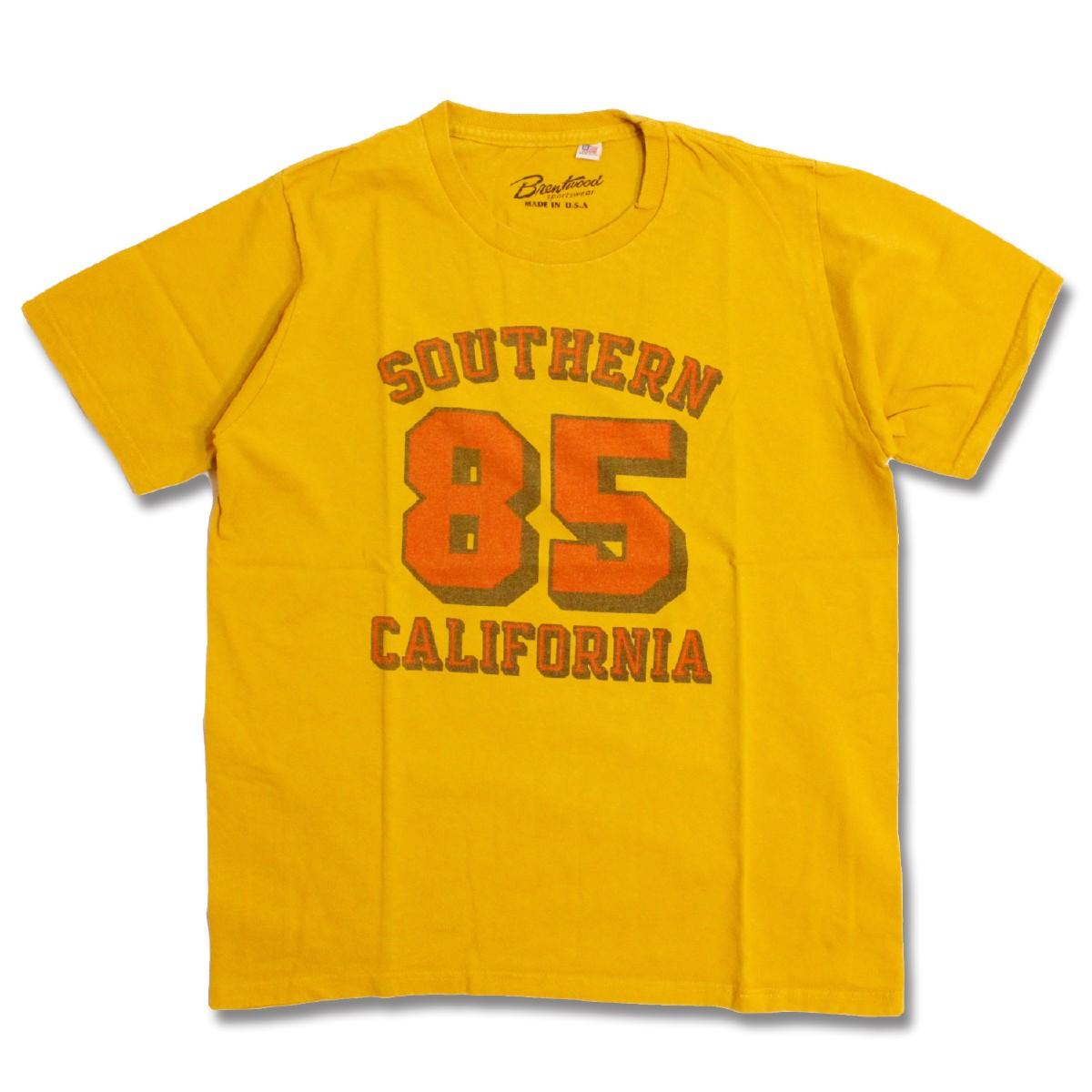 Tシャツ 登場大人気アイテム 半袖 ブランド 半袖T 半袖Tシャツ アメリカ製 USA カットソー アメカジ メンズ イエロー XS-L レディース NO.85 お求めやすく価格改定 黄色 Brentwood ブレントウッド