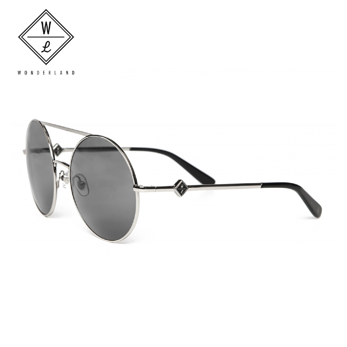 WONDERLAND ワンダーランド サングラス BLYTHE Silver Metal&Gray CZ ブライス メンズ レディース ラウンド型 UVカット アイウェア カラーレンズ ブラック グレー blythe02