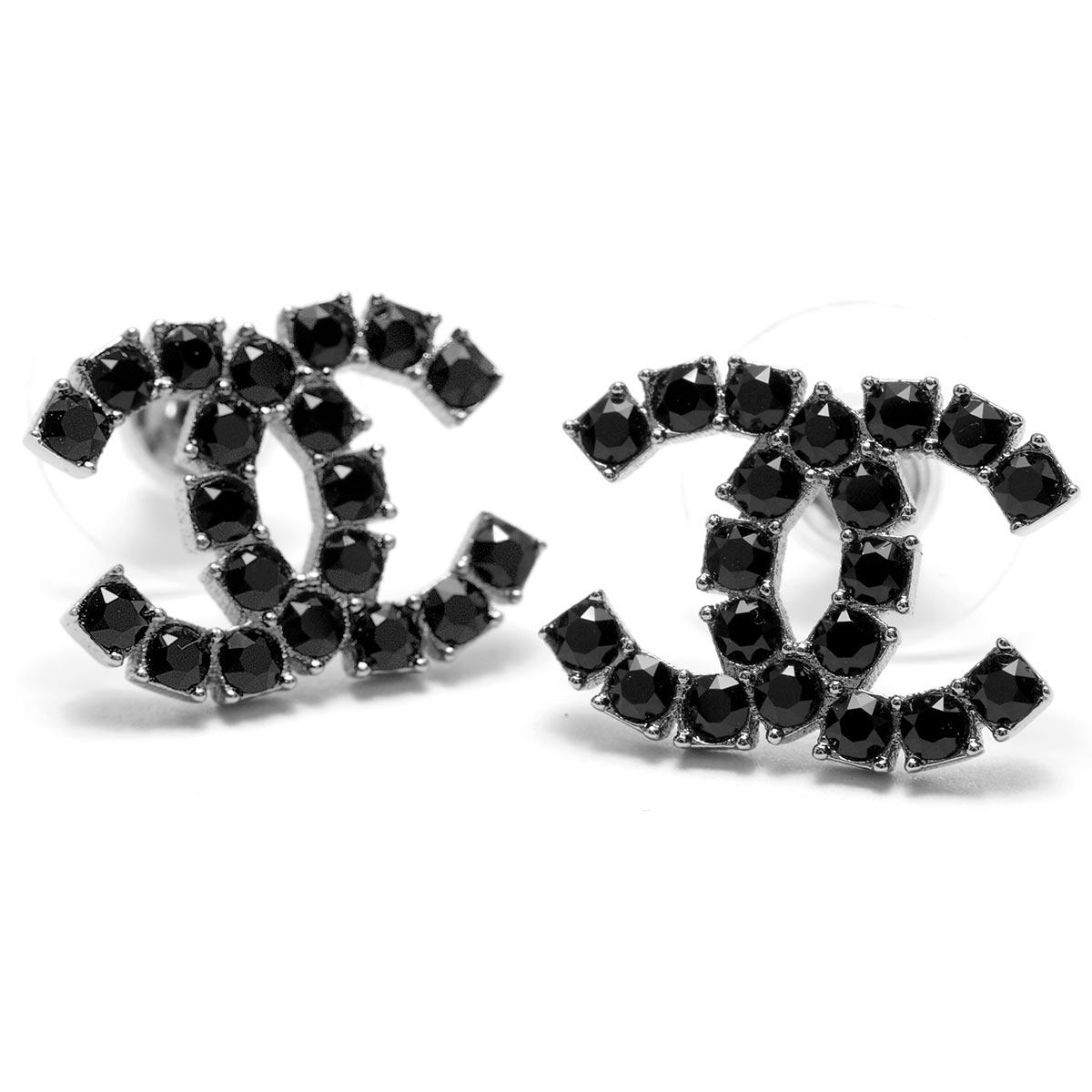 シャネル ピアス アクセサリー レディース ココマーク ラインストーン ガンメタル&ブラック A58385 GNBK CHANEL