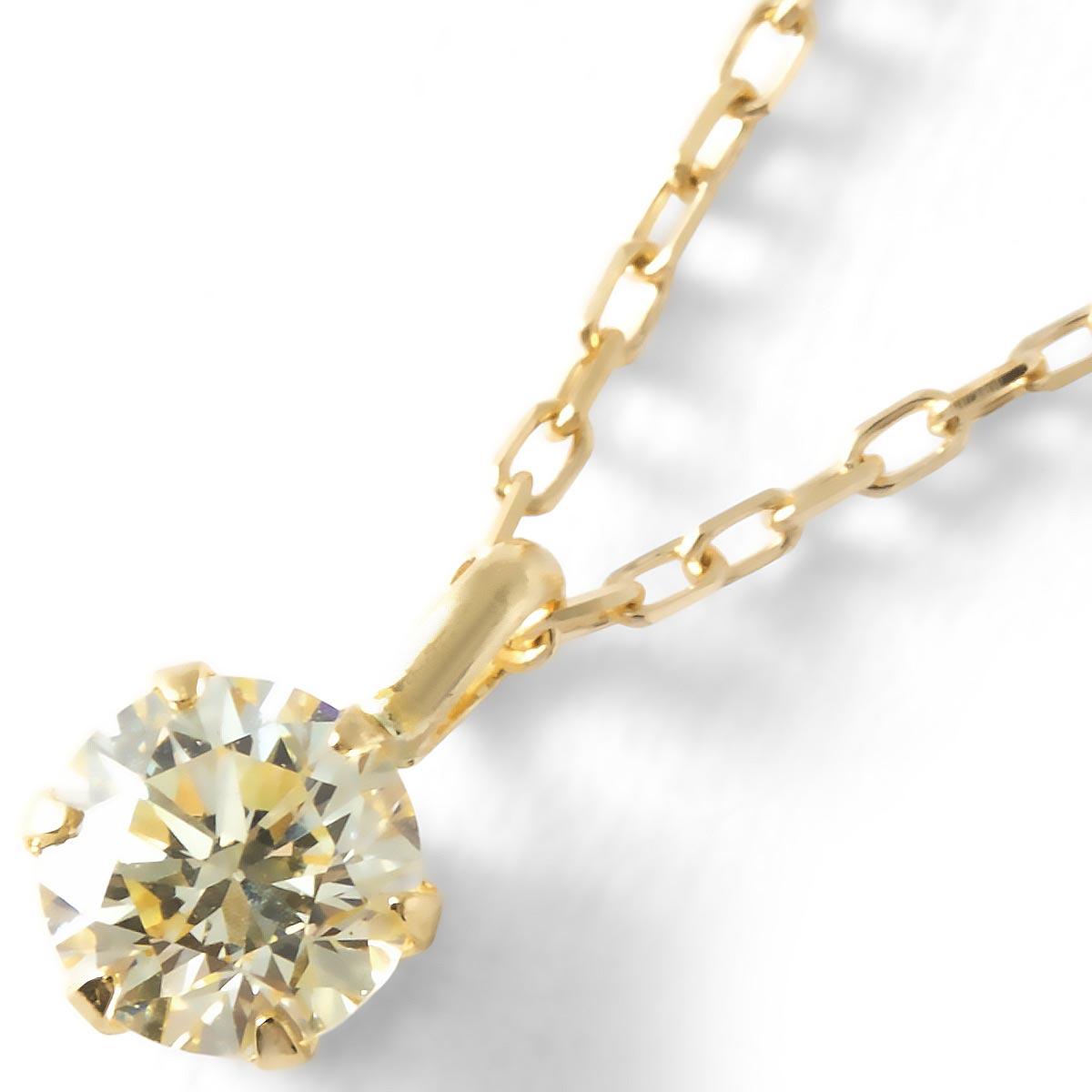 ジュエリー ネックレス アクセサリー レディース ダイヤモンド 一粒 0.2ct K18 クリア&イエローゴールド DS20096 YG JEWELRY