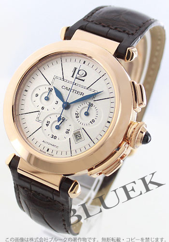 Cartier Pasha XL PG pure gold automatic chronograph leather dark brown / silver mens W3019951
