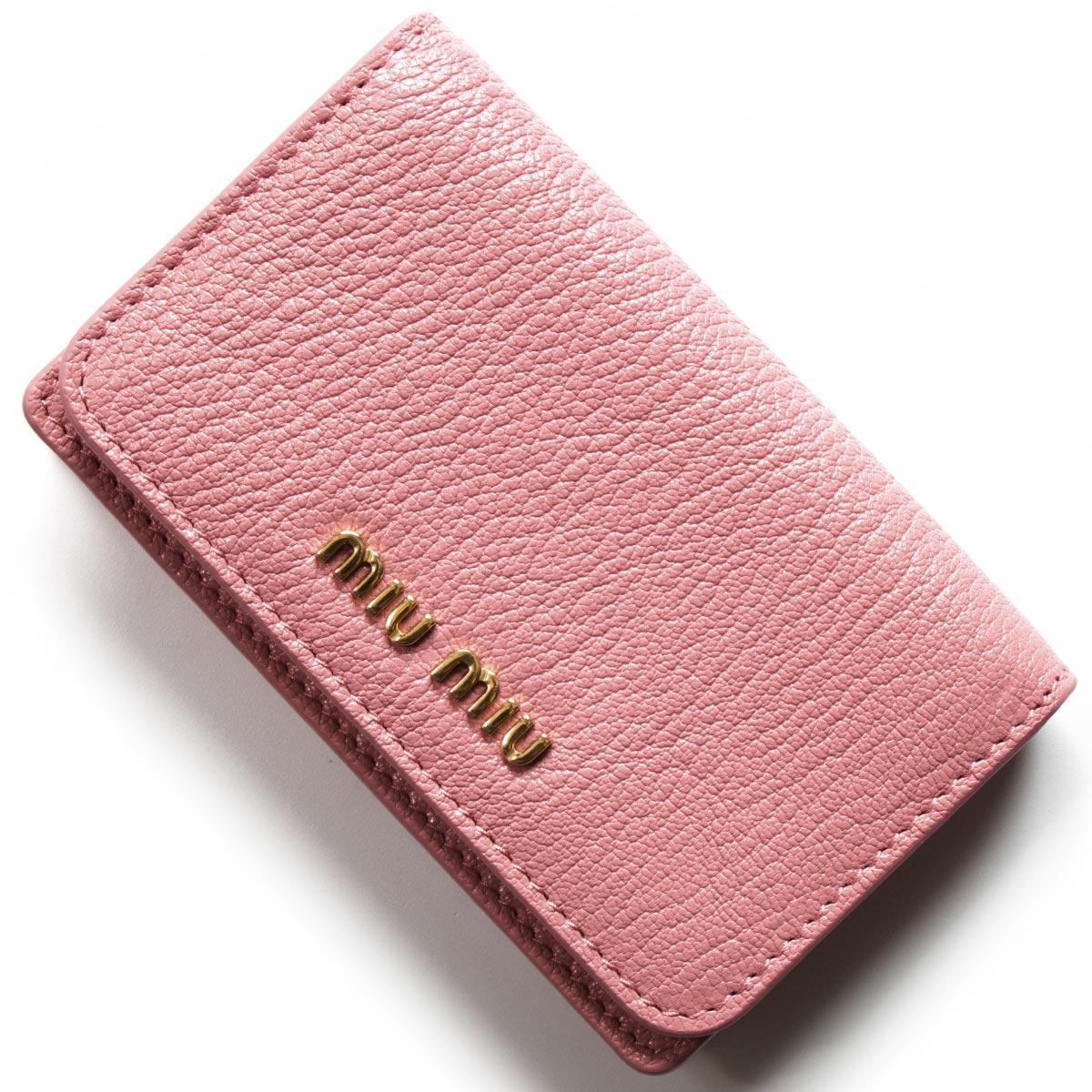 ミュウミュウ カードケース レディース マドラス カラー ローザピンク&ムゲットピンク 5MC011 2BJI F0387 2018年春夏新作 MIU MIU