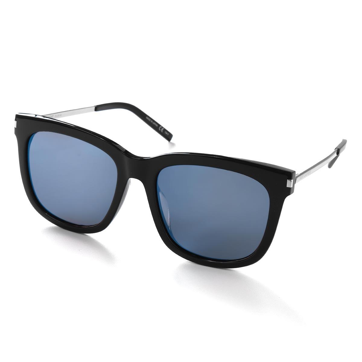 サンローランパリ イヴサンローラン サングラス メンズ ウェリントン ブラック&シルバー&ブルー SL 26 K 001 KOR SAINT LAURENT PARIS